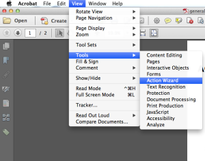 Screenshot of Acrobat Pro, showing the View dropdown open.