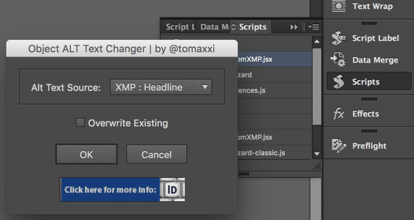 Screenshot of the script panel in InDesign and ALT text script dialogue box