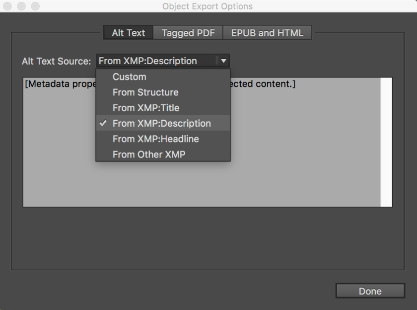 Screenshot of the object export options window in InDesign